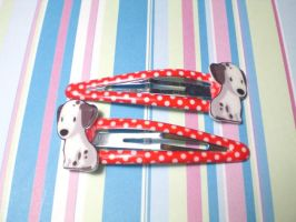 Dalmation Polka Dot Hairclips by AgnesGarbowska