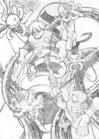 It's not a hentai ! - Spiderham vs Doc Octopus WIP by Raphaailes