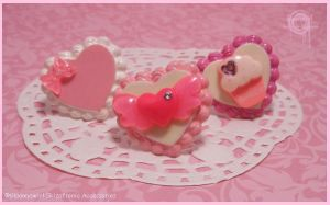 Nom Nom Creamy heart rings by Gloomyswirl