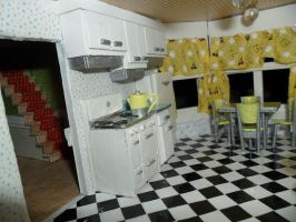 Retro Dollhouse WIP: Kitchen DONE left side by kayanah