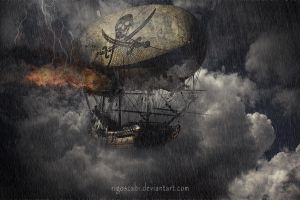 Steampunk Pirates in trouble by rigoszabi