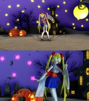 Halloween stage and Bat particle for MMD by papico90