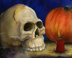 Skull and Pumpkin by brianmeyer