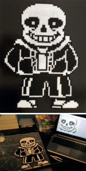Undertale's Sans Made Out of Perler Beads by Glugglor
