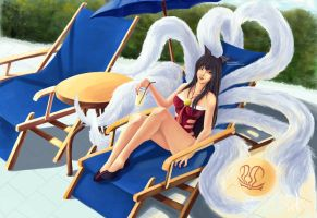 Ahri Poolparty by damnreccaishot