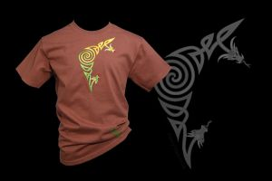 Spiral Corner Dragons on Chestnut Adult T-shirt by FancyTogs