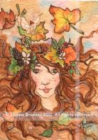 "ACEO ""Golden Maple Girl"" by JoannaBromley"