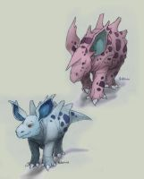 030 Nidorina and 033 Nidorino by RtRadke