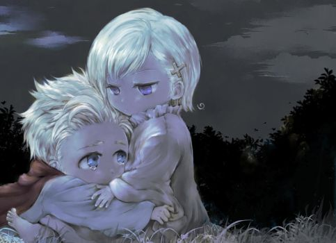 aph (chibi) DenNor  in the dark by 10-shiki