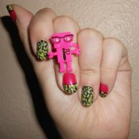 Pink and Green robot nails by Agathanaomi