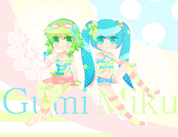 Gumi and Miku by deathbylolita