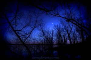 Blue and Purple Night at a Solitary Lake by zieora
