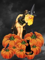 Halloween pin-up girl 2 by ArianeJurquet
