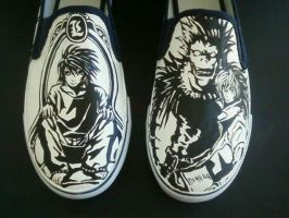 Custom Handpainted DEATH NOTE Shoes Light L Ryuk by rachelliles352