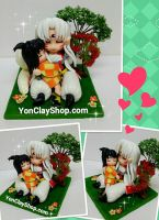 Sesshomaru x Rin - Handmade Clay Figures by yonkairu