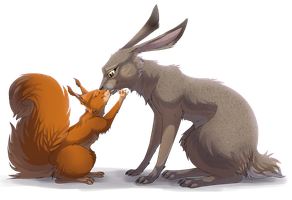 Gift - Squirrel and Hare by Kocurzyca