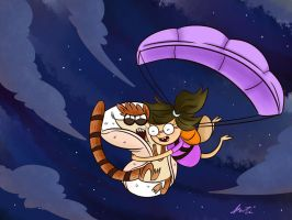Eileen in the sky with Rigby by botilove