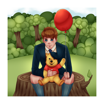 Christopher Robin with Winnie the Pooh by LOUISalem