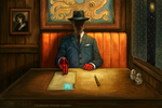 Booth in the Back for Elder Sign by feliciacano