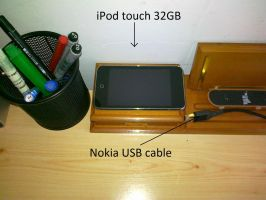 iPod touch 32GB and Nokia USB cable by LazyLaza