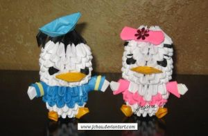 3D Origami Donald and Daisy Ducks by jchau