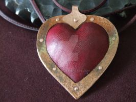 Wet formed leather Heart and copper pendant de by Da-Vinch