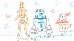Daddy and Baby Robot by LodeinArt