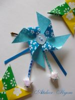 Origami pinwheel hair pin by Ilyere