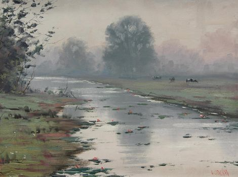 Foggy River Painting by artsaus