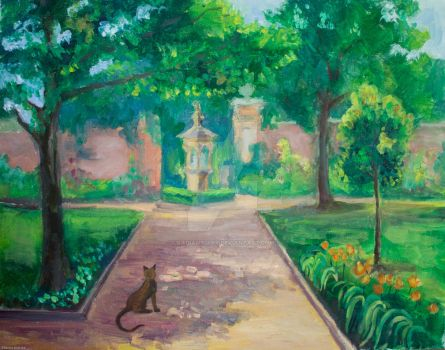Garden alley, oil, 16 x 20 inch by Radiant-Art