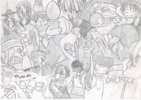 One Piece Big Group Drawing by SketchyOne