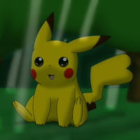 Pikachu in the forest. by DreamyNormy