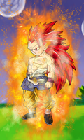 Super Saiyan 3 God Kid Goku GT W/Aura by EliteSaiyanWarrior