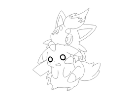 pikachu and zoroa lineart 1 by michy123