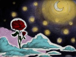 roses and a moonlight night by StrawberryCrescent