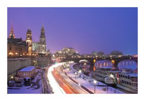 Skyline of dresden in winter by Torsten-Hufsky