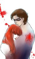 Bucky and Natasha by mmmmmr