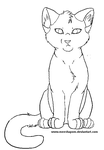free sitting cat lineart by meeshmoose