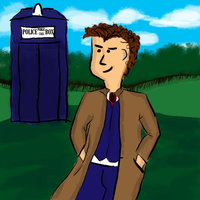The Doctor with TARDIS by ilinamorato