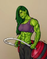 She-Hulk bored by puny weights by saad-khan-04 by cerebus873