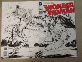 Wonder Woman/Cheetah sketch cover by hdub7