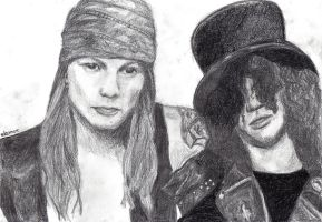 Slash and Axl by mleonow