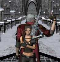 Dante X Lara Croft 79 by candycanecroft