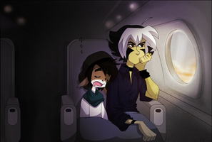 On the airplane by s0s2
