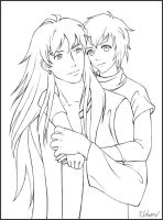 Rain and Machika - Lineart by Eldanis