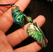 Vial of the Green Fairy - handmade Flask + Wing by Ganjamira