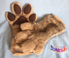 (SOLD) Toony Brown Fursuit Handpaws by TECHNlCOLOUR