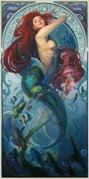 Ariel inspired by Mucha by AquaJ