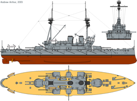 HMS Agamemnon (1908) profile drawing by lichtie