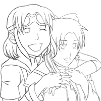 080930 Aimi and Minako Lineart by chiyokins